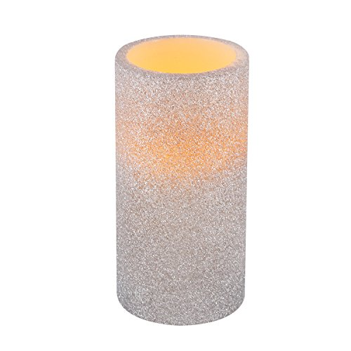 Greluna Silver Glitter Flameless LED Candle with Timer, Battery Operated Candles for Holiday Decorations and Gift,3X6 inches