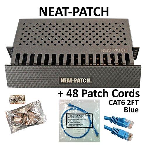 Neat Patch Cable Management Kit - 1 Unit w/ 48 CAT6 Patch Cables (2FT Blue)
