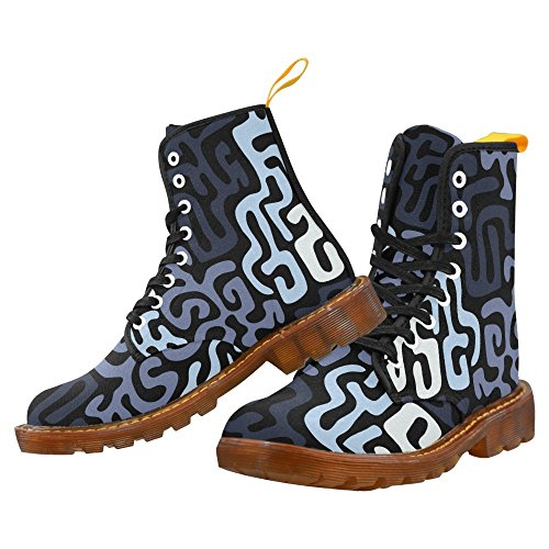Interestprint Camo Martin Boots Fashion Schoenen Voor Heren Motief Met Labyrint Van Verwarde Lijnen