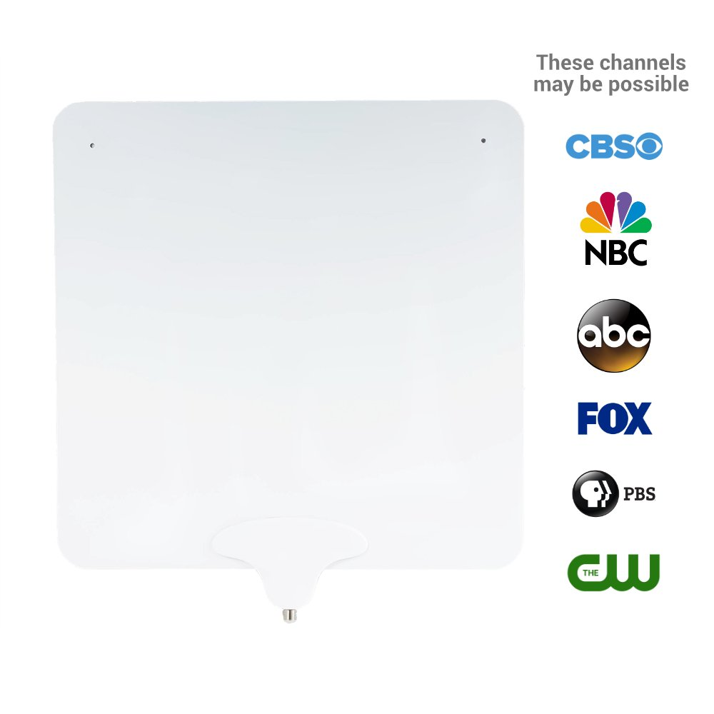 NoCable 30 - Indoor TV Antenna by NoCable | 30-Mile Range, 10ft Detachable Cable + Free TV for Life + Reversible, Ultra Flat, Digital High Definition HD TV Antenna. Easy Install