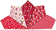 Houlife 5-10 Pieces 100% Cotton Red Floral Printed Handkerchief Elegant Hankies for Women Ladies Girls Wedding