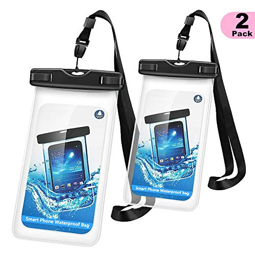 Universal Waterproof Case, WJZXTEK Waterproof Phone Pouch Dry Bag with Sensitive PVC Clear Screen for iPhone Xs XR X 8 Plus 7 Plus 6S Plus Note 5 S7 S6 Edge ()