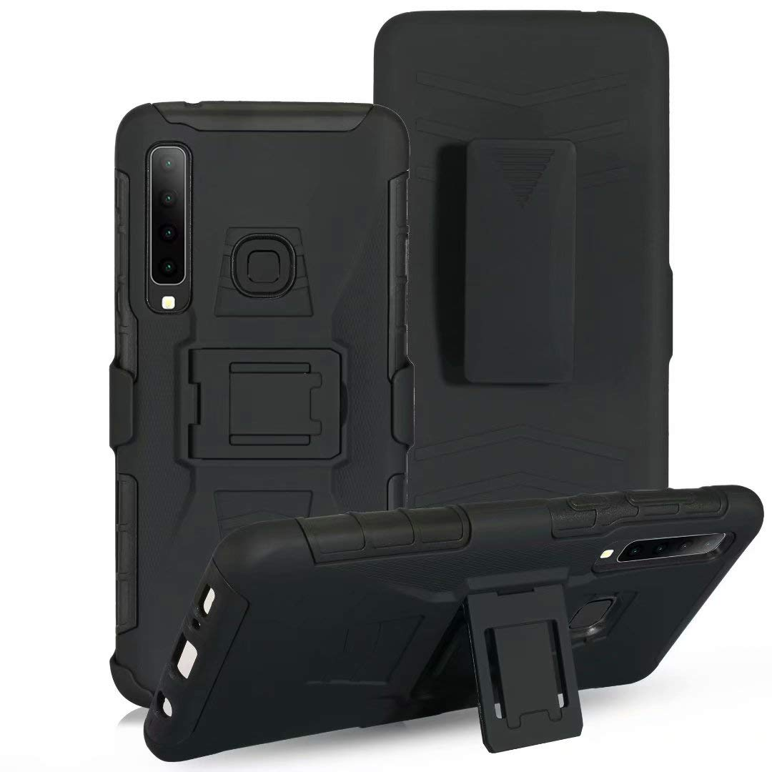 Lantier Hybrid Heavy Duty Shockproof Rugged Holster Protective Case with Kickstand and Swivel Belt Clip for Huawei P30 Lite Black