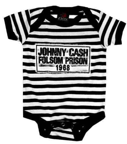 Kiditude Johnny Cash Folsom Prison Baby Onesie, Black (0-6 Months (S)) ()