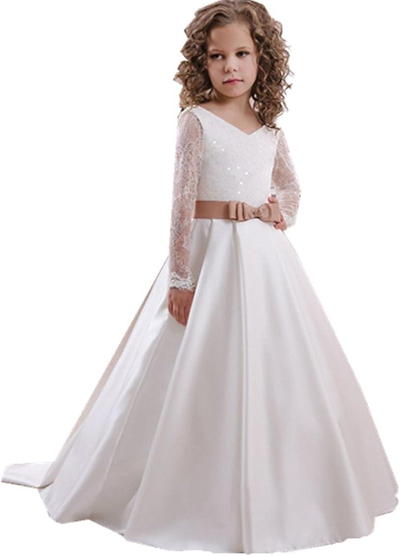 Kelaixiang Jewel Short Sleeves Flower Girl Dress for Wedding Satin Applique