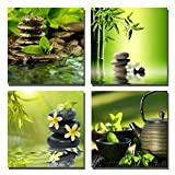 Yang Hong Yu Canvas Prints Stones Teapot and Bamboo on Water SPA Theme Photo on Canvas Wall Art Framed Modern Decor Paintings Giclee Artwork for Home Decoration 12x12inch