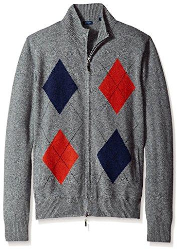 Thirty Five Kent Men's Diamond Pattern Cashmere Full Zip Sweater, Grey, M (Zip Cashmere Sweater)