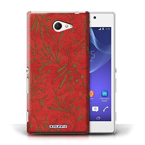Etui pour Sony Xperia M2 / Rouge/Vert conception / Collection de Motif floral blé
