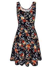 Tom's Ware Womens Casual Fit and Flare Floral Sleeveless Dress TWCWD054-DNAVY-US M