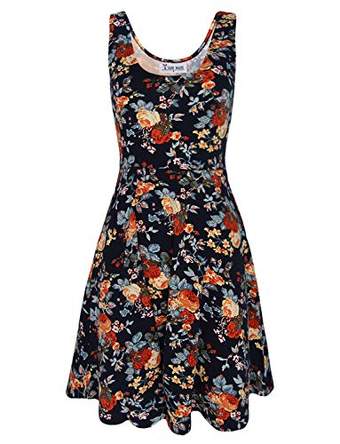 - TAM WARE Womens Casual Fit and Flare Floral Sleeveless Dress TWCWD054-DNAVY-US M