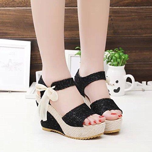 Minetom Sandalias con Cuña Mujer Verano Dulce Encaje Arco Peep Toe Zapatos Chancletas Zapatillas Playa Boda Negro