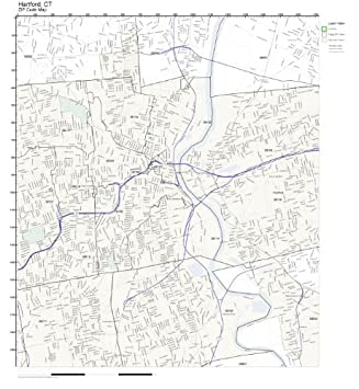 Amazon.com: ZIP Code Wall Map of Hartford, CT ZIP Code Map Laminated ...