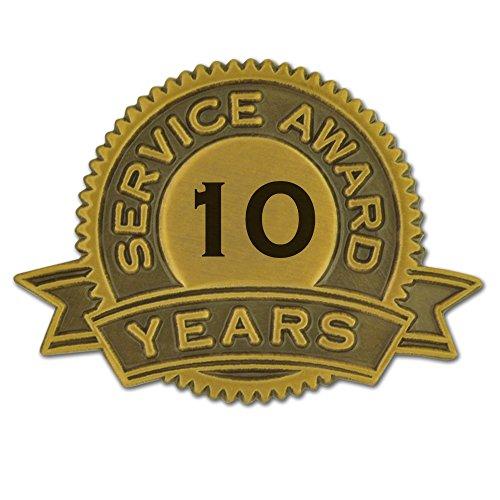 PinMart 10 Years of Service Award Lapel Pin 10 Year Anniversary Pin