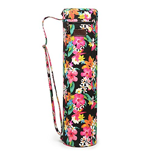 Fremous Yoga Mat Bag and Carriers for Women and Men – Double Storage Pocket – Easy Access Zipper – Adjustable Shoulder Strap and Handle (Peony)