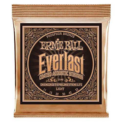 Light Gauge Coated Acoustic Guitar - Ernie Ball Everlast Light Coated Phosphor Bronze Acoustic Guitar Strings - 11-52 Gauge