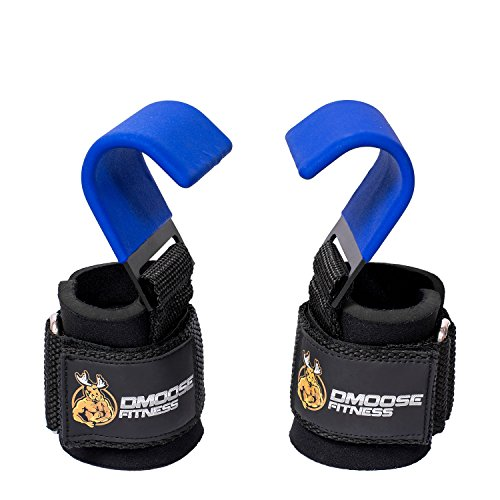 DMoose Fitness Weight Lifting Hooks Grip (Pair) - 8 mm Thick Padded Neoprene, Double Stitching, Non-Slip Resistant Coating - Secure Your Grip and Reach Your Goals with Premium Workout Hook Gloves