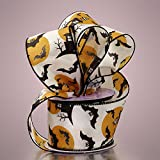 Premium Halloween Wire Ribbon - 2 1/2 Inches by 10 Yards (Spooky Night)