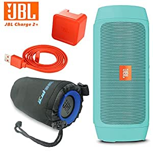 JBL Charge 2 Plus Splashproof Portable Bluetooth Speaker (Teal) + I3ePro Water Resistant Carry Pouch