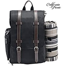 Picnic Backpack | Picnic Basket | Stylish All-in-One Portable Picnic Bag for 2 with Complete Wooden Cutlery Set, Stainless Steel S/P Shakers | Waterproof Fleece Picnic Blanket | Cooler Bag for Campin