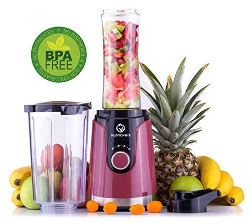 NUTRI-TWIST NO.1 Smoothie Maker to go Innovador diseño 2 en 1 + botella de agua de 600 ml - sin BPA - El mejor mini mezclador de regalo para Navidad: ...
