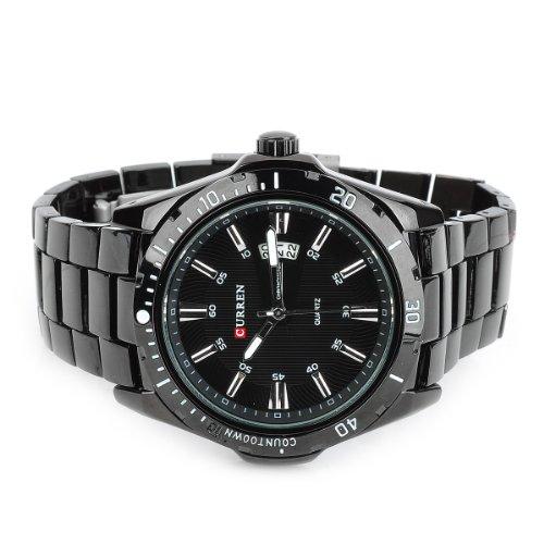 Generic CURREN 8110 Men's Tungsten Steel Band Quartz Wrist Watch w/ Calendar - Black (1 x 626)
