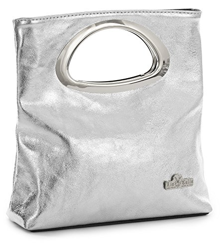 LiaTalia Plain Italian Suede Leather Top Handle Small Foldable Evening Purse Clutch Bag - Rhea [Metallic - Silver]