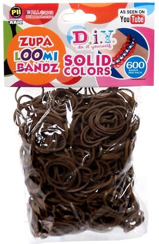 D.I.Y. Do it Yourself Bracelet Zupa Loomi Bandz 600 BROWN Rubber Bands with 'S' Clips by PII Industries (Image #1)