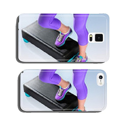 Female feet do exercise on fitness aerobic stepper. cell phone cover case iPhone5