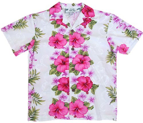 Two Palms Boys Plumeria Panel Cotton Shirt White 14 by Two Palms
