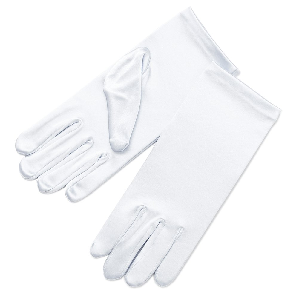 ZaZa Bridal Girl's Fancy Stretch Satin Dress Gloves Wrist Length 2BL-Girl's Size Large (13-16 yrs)/White