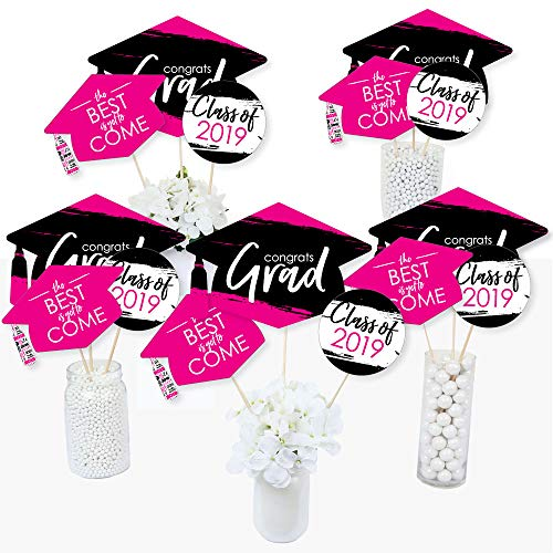 Pink Grad - Best is Yet to Come - 2019 Pink Graduation Party Centerpiece Sticks - Table Toppers - Set of 15