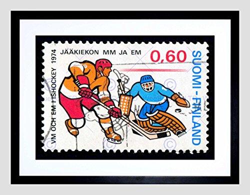 Finland Postage Stamp Vintage ICE Hockey Philately Framed Art Print - Print Stamp Framed