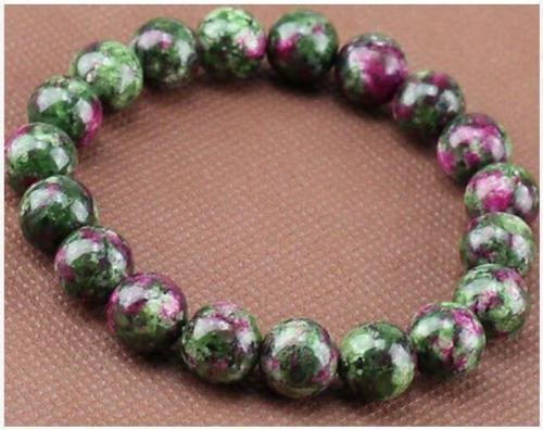 Gem Rub - MiniEsting(TM) New 8mm Natural Green Ruby In Zoisite Round Gemstone Stretchy Bracelet 7.5''AAA
