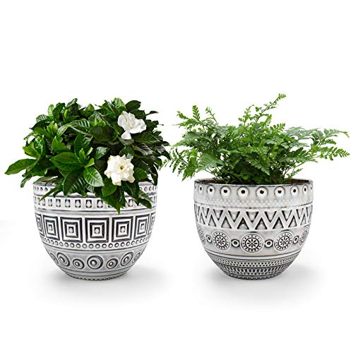 KORAM 5.5 Inch Ceramic Planter, Indoor & Outdoor Garden Pots for Flower Succulent Plant with Drain Hole, Home Office Decoration Set of 2(Plants Not Included)
