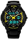 Fanmis boys Sports Watches Multifunction Dual Time 12/24H Led Backlight 50M Waterproof Stopwatch Alarm Watch Yellow