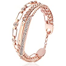 RYTHUN Rose Gold CZ Cubic Zirconia Bracelet Bangle for Women(2018 New)