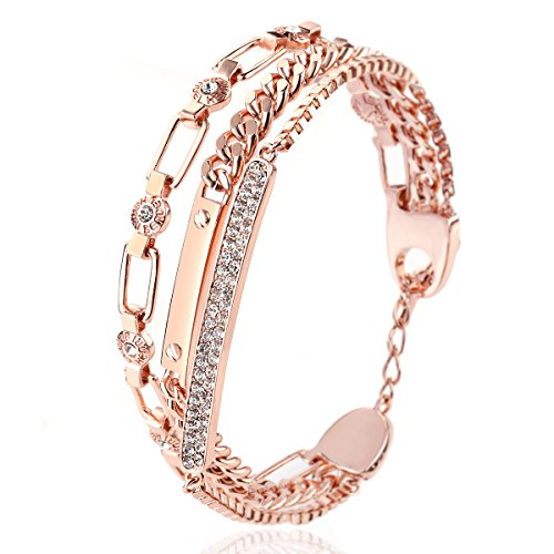 (RYTHUN Rose Gold Rhinestone Charm Cuff Bracelet String Bangle for Women and Girls)