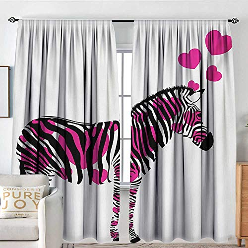 Blackout Thermal Insulated Window Curtain Valance Pink Zebra,Zebra in Love Figure with Hearts Pastel Valentines Wedding Anniversary,Black White Pink,Rod Pocket Valances 84