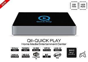 BoLV QII S912 box ,Android TV BOX , Smart TV BOX (Android 6.0, S912 tv box, Octa core, DDR4 2GB eMMC 16G, Dual WiFi 2.4G/5.8G, Bluetooth, 4K HDR10, 1000M LAN, H.265 ) set-top box