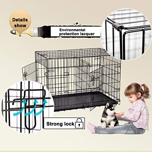 BestPet 42'' Pet Folding Dog Cat Crate Cage Kennel w/ABS Tray LC by BestPet (Image #2)