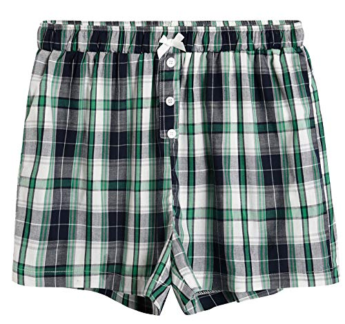 (Latuza Women's Sleepwear Cotton Plaid Pajama Boxer Shorts 2X Navy & Green)