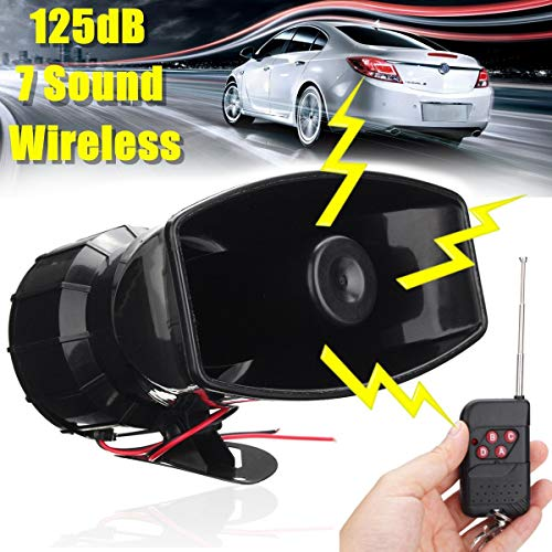 Star-Trade-Inc - 100W 12V 125 DB Boat Warning Alarm 7 Sound Loud Car Wireless for Fire Horn Speaker System with Black Wireless Remote Controller