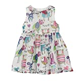 Weixinbuy Kids Girls Chiffon Birds Printed Sleeveless Summer Dress