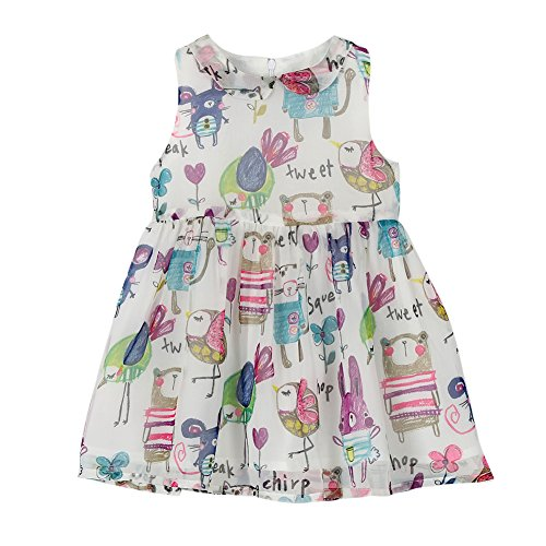 Weixinbuy Kids Girls Chiffon Birds Printed Sleeveless Summer Dress,White, (Kids Girls Sleeveless)