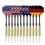 Sametop 12 Packs Steel Tip Darts with National Flag Flights, Aluminum Shafts and Brass Barrels