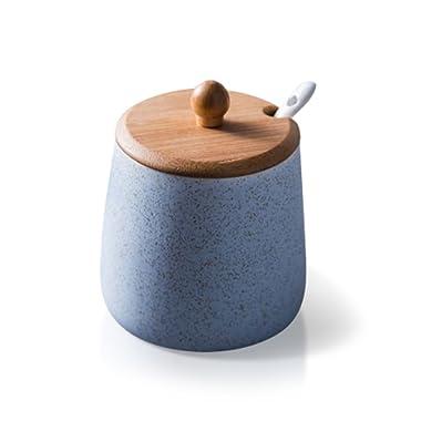 DoDola Ceramics Sugar Bowl Spice Jar Seasoning Box with Lid and Spoon Blue