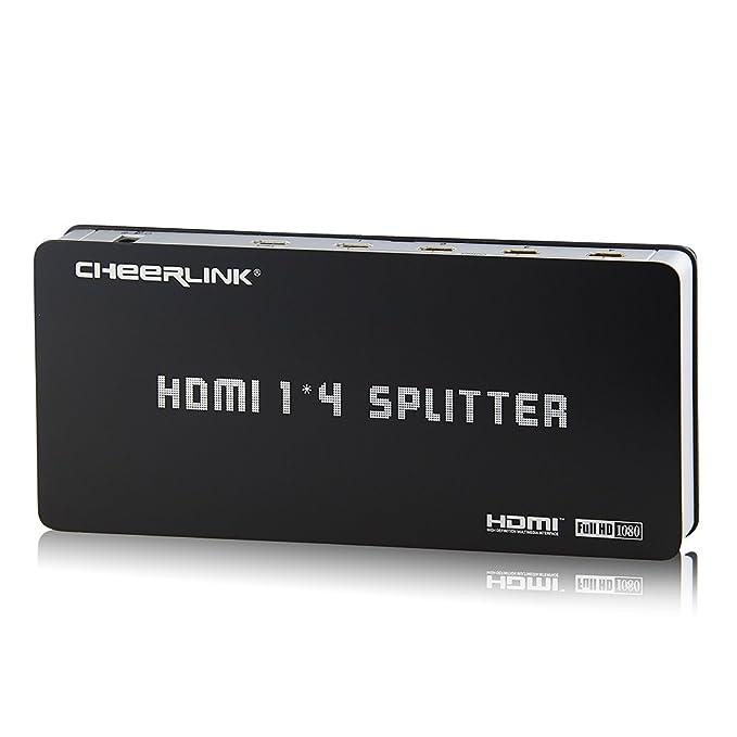 cheerlink-hdmi divisor 1 x 4 con amplificador de señal integrado, fuente de alimentación de red y manual: Amazon.es: Electrónica