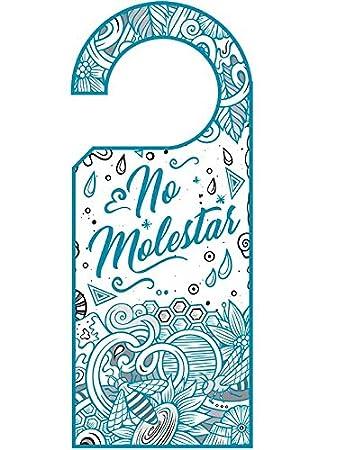 Señalética Hotel Colgadores Puertas No Molestar Azul impresión Doble Cara PVC | Medidas 11.00 cm x 26.00 cm | Puertas Habitaciones hoteles | ...