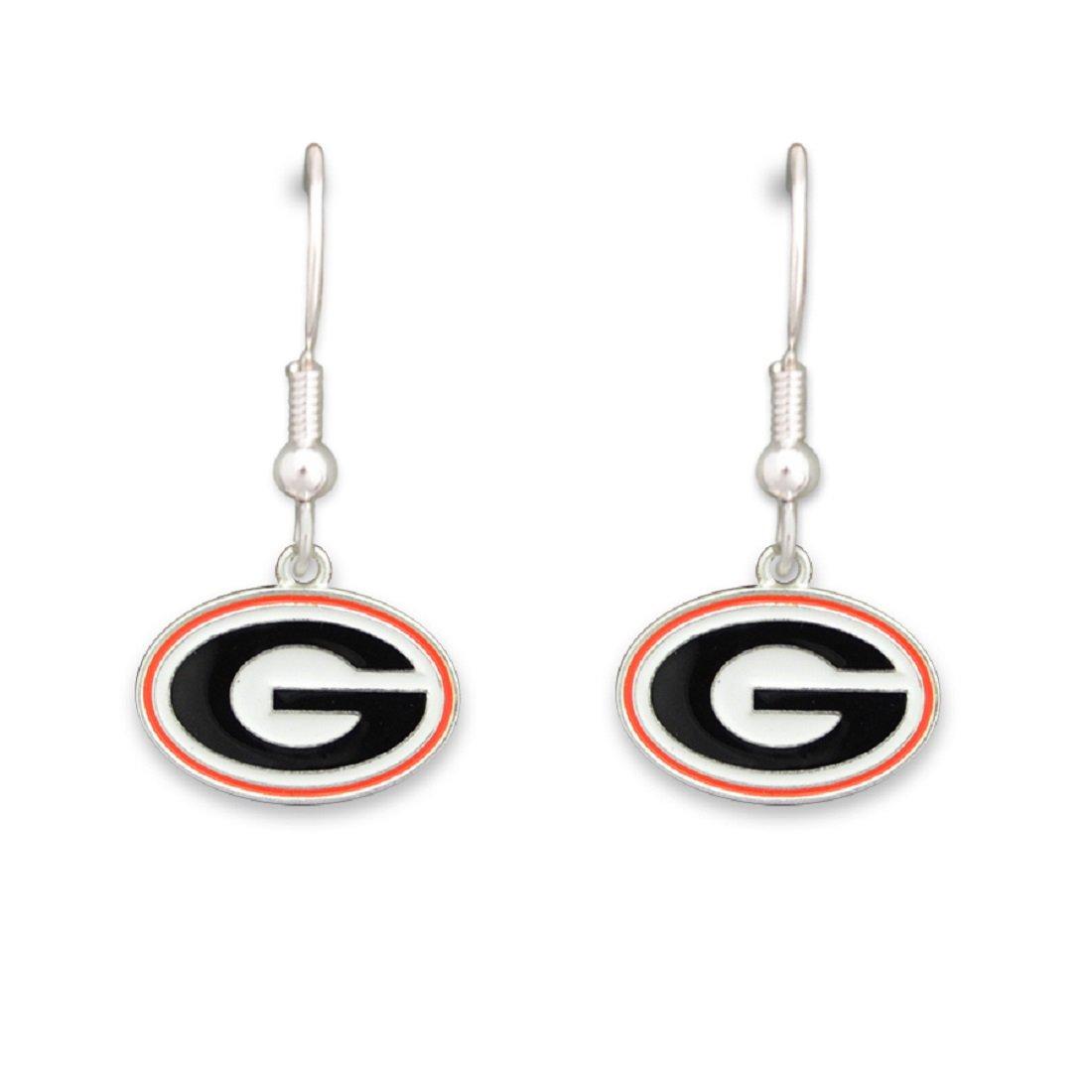 FTH Silver Tone Fishhook Earrings with an Iridescent Georgia Bulldogs Charm
