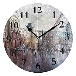 Le Louvre Paris Watercolor Silent Non Ticking Round Acrylic Wall Clock Home Office School Decorative Clock Art
